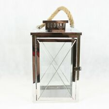 Stainless Steel Lantern with Rope Handles for Home Garden Patio