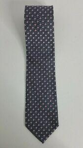 "NEW NWT Roundtree & Yorke Navy Blue Floral Geometric Silk Tie 57"" X 3.75"" T233"