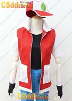 Pokemon red with pikachu Cosplay Costume  only Vest with Hat red