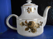 ARTHUR WOOD TEAPOT WHITE WITH GOLD FLOWERS AND TRIM #5326