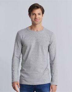 GILDAN MENS Classic Fit Long Sleeve Plain Softstyle Cotton T Shirt