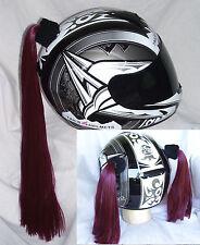 Burgundy / Wine Helmet Pigtails or Pony Tail .Motorcycle,Skateboard, Bike or Atv