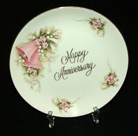 1983 Enesco Happy Anniversary Pink Bell Floral Ceramic Plate Collectible Gift