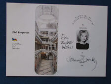 HAND SIGNED - Joanna Lumley - 1990 - Opening Card - New Avengers- Purdey -Ab Fab