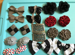 Vintage Shoe CliPs Lot  Of 10 Faux Leather - Leather-Fabric-Metal-Plastic Bows