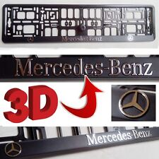 Black 3D Mercedes Benz European Euro License Number Plate Holder Frame German EU