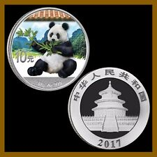 China 10 Yuan 30g Silver colored (color) Coin BU, 2017 Panda + Info Card