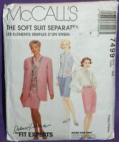 Uncut McCalls Palmer/Pletsch Sz 22 Jacket Vest Blouse & Skirt Pattern 7499 Suit
