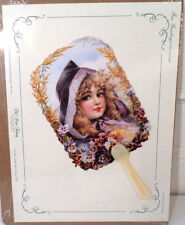Vintage Inspired Victorian Paper Fan Greeting Card Old Print Factory Pansy Girl