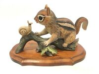 Chipmunk & Snail 1980 Masterpiece by Homco Porcelain Figurine With Wood Display