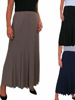 Ladies Maxi Length Fully Lined Panel Swing Flare Skirt Soft Stretch 10-22