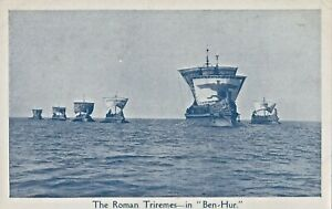 """the  ROMAN  TRIREMES  in """" BEN  HUR """"SILENT screen MOVIE 1920s postcard"""