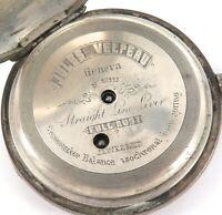 HIGH GRADE / LATE 1800s JULES VELPEAU, GENEVA 18S .800 SILVER POCKET WATCH.