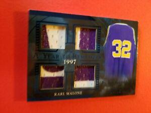 KARL MALONE GAME USED JERSEY PATCH CARD #d 33/35 LEAF ITG UTAH JAZZ YEAR 1997