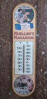 "VINTAGE MUELLER'S MACARONI ADVERTISING °F °C THERMOMETER WOOD SIGN 18""x4.75"" GC"