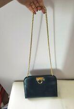 FERRAGAMO Vintage Bag Crossbody Black Leather Gold Tone Hardware Chain Clutch