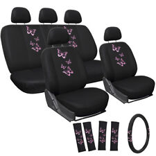 Car Seat Covers for Kia Soul 17pc Pink Butterfly with Steering Wheels/Head Rests