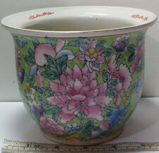 "Vintage Chinese Floral Painted Porcelain Planter Pot 4.4"" Tall x 5.5"" Diameter"