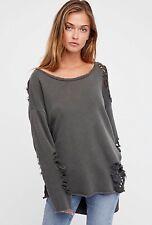 NEW Free People NSF Nellie Destroyed Pullover Sweatshirt Sweater Size Medium Gra