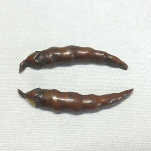 D0879: Real old Japanese sword ornament MENUKI of copper of rare Chili pattern