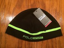 POLO RALPH LAUREN FLEECE RUNNING ZIP POCKET HAT BLACK/GREEN CAP SKULLY BEANIE