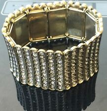 NWT Quality Guess Jewellery Designer Bracelet - Wide Gold Tone Crystal 18cm JB34