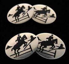 Sterling+Enamel Jumping HORSE Cufflinks~E I Franklin~2-Sided Vintage Equestrian