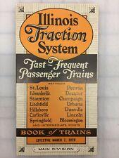 Illinois Traction System Passenger Trains Railroad 1926 Paper Schedule Repro '74