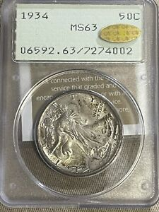 "1934 Liberty Walking Half Dollar PCGS MS63 ""Gold CAC"""