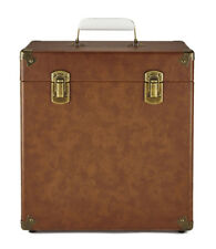 GPO Vinyl Protective Flight Record Storage Carry Case - Holds 45 Albums - Brown