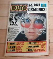 ELTON JOHN ON COVER OF DISC MAGAZINE DEC 14/1974 ELTON SAYS NO TO USA & OSMONDS