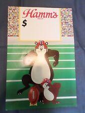 Rare NOS Hamm's Beer Bear  Football Stand Up Bar Cardboard Sign Pabst Store Disp