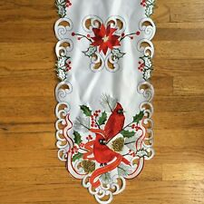 """Long Table Runner 69"""" CHRISTMAS CARDINALS Holly Berries Pine Cones Gold"""