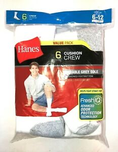 HANES Cushion Crew Socks Value Pack / 6 pair Cushioned Footbottom  Sz 6-12