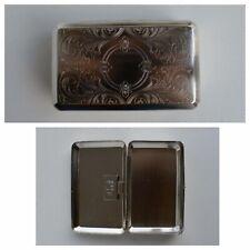 Tabakdose Chrom m.Muster u.Blättchenhalter 11,3x7x3,4cm Metalldose für Drehtabak