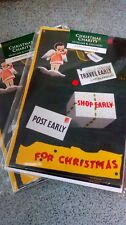 Christmas cards pack of 10. POST EARLY. Vintage railway poster. Charity cards,