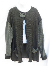 BEPPA Art to Wear Womens Gray Shaggy One Button Artsy Loose Cardigan Sweater L