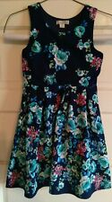 Knitworks Girls Size 10 Lined Flare Party Dress Navy Floral Beautiful