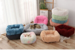 Square Soft Long Plush Pet Dog Cat Bed Winter Warm Dog Nest Kennels XS S M L