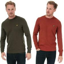 Mens Lyle And Scott Cotton Merino Crew Neck Jumper in Brown, and Green