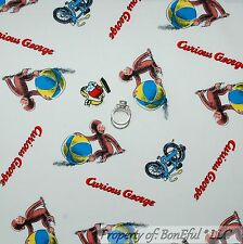 BonEful Fabric Cotton Quilt American Book Curious George Monkey Baby Bike SCRAP
