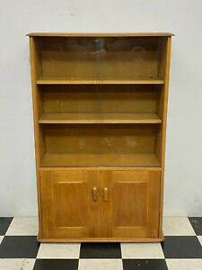 Vintage Ercol style Priory compact glazed bookcase display cabinet unit Delivery