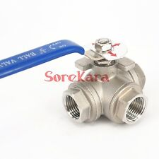 """DN15 1/2"""" BSP Female 304 Stainless Steel 3 Way T Port Ball Valve oil water air"""