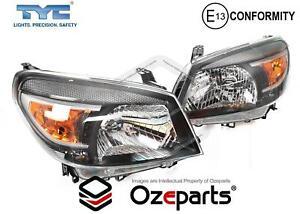 Set / Pair LH+RH Head Light Lamp (Black) For Ford Ranger PK Ute 2009~2011