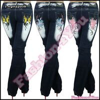 Womens Bootcut Jeans Tattoo Ladies Trousers Crazy Age Plus Size 14,16,18,20,22