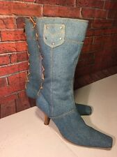 Vintage Late 80's-90's All Denim W/ Tan Leather Lace-up Boots Woman Size 9M Low