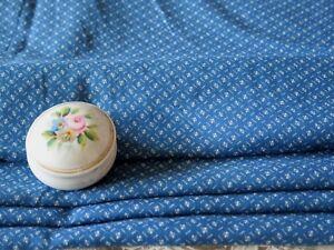 "Antique Farmhouse Indigo Patterned Cotton Fabric~1yd19""LX34""~Dolls,Quilts"