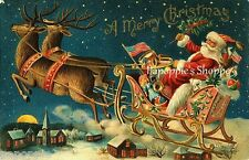 Vintage Victorian Postcard Printed onto Fabric Block Flying Santa with Reindeer