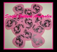 Electric, Acoustic, Bass  Guitar Picks  x15   PINK  Flame Skull