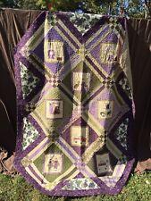 """Quilt Shop Fabriholic Quilt Purple Green Beige 84"""" x 96"""""""